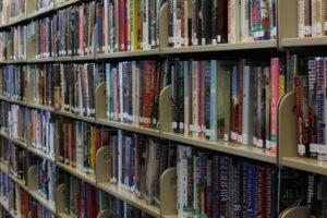 Bookshelves full of books