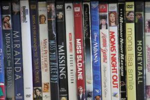 DVDs on a shelf